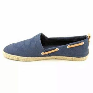 COACH navy blue leather espadrilles boat shoes 8